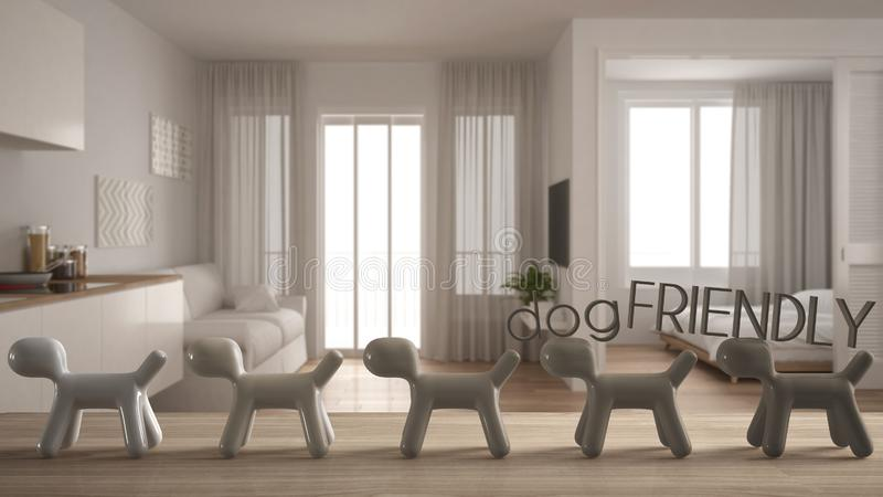 Wooden table top or shelf with line of stylized dogs, dog friendly concept, love for animals, animal dog proof home, modern white. Small apartment, cool stock image