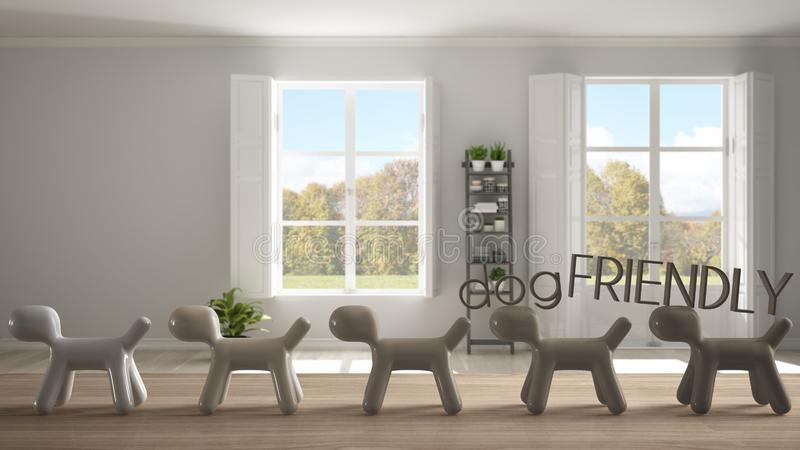Wooden table top or shelf with line of stylized dogs, dog friendly concept, love for animals, animal dog proof home, stylish empty. Room with panoramic windows vector illustration