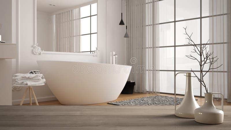 Wooden table top or shelf with minimalistic modern vases over blurred minimal luxury bathroom with panoramic window, carpet and. Bathtub, minimalist stock illustration