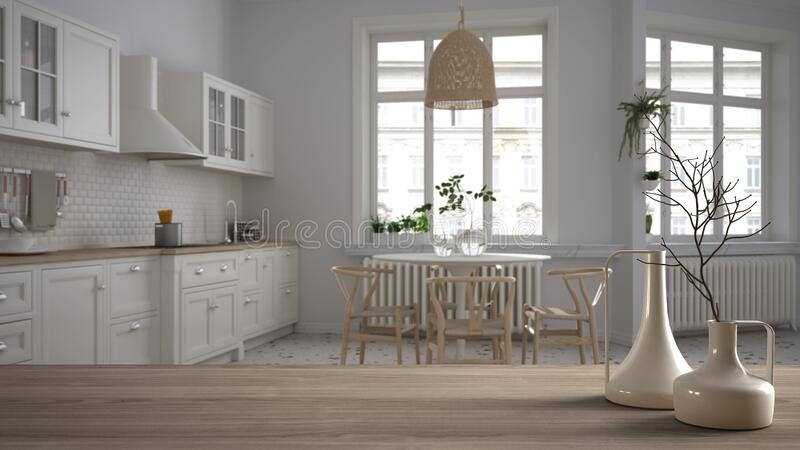 Wooden table top or shelf with minimalistic modern vases over blurred retro white kitchen with table and chairs, herringbone royalty free illustration