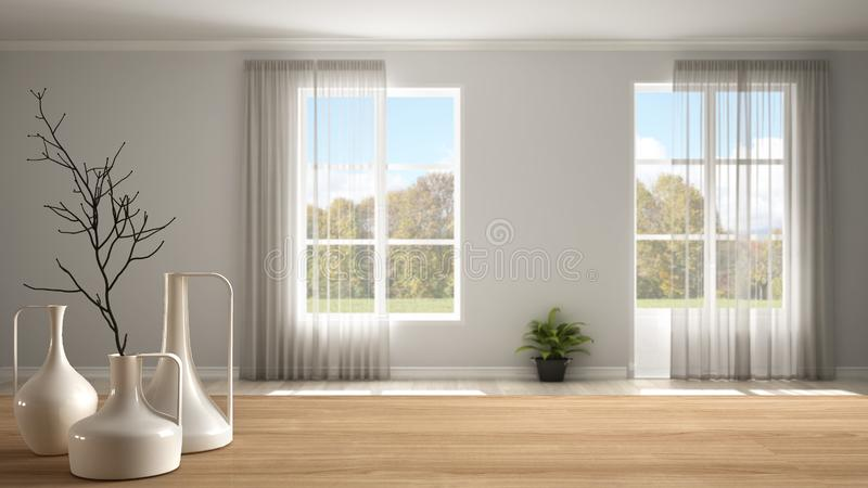 Wooden table top or shelf with minimalistic modern vases over blurred stylish empty room with panoramic windows and parquet floor. Minimalist architecture vector illustration