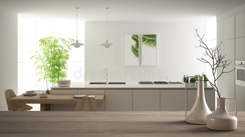 Wooden table top or shelf with minimalistic modern vases over blurred modern white kitchen with wooden details and parquet floor,. Minimalist architecture vector illustration