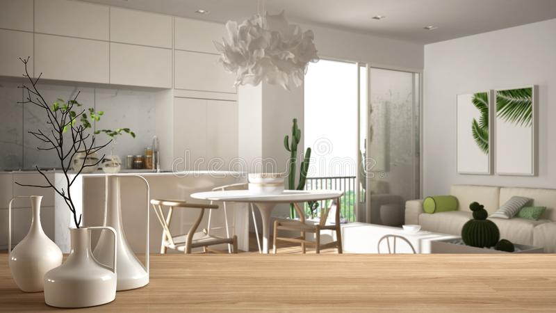 Wooden table top or shelf with minimalistic modern vases over blurred modern white living room with wooden details and parquet. Floor, minimalist architecture vector illustration