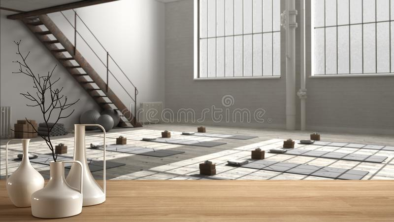 Wooden table top or shelf with minimalistic modern vases over empty yoga studio, open space with mats and accessories, ready for. Yoga practice, meditation room stock illustration