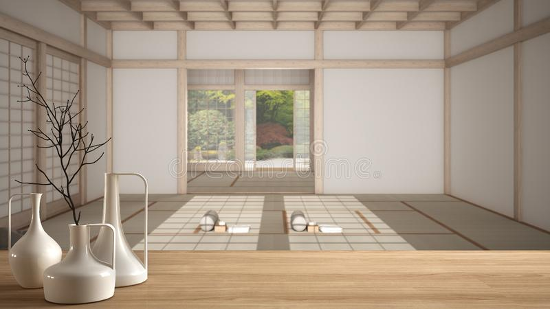 Wooden table top or shelf with minimalistic modern vases over empty yoga studio, open space with mats and accessories, ready for. Yoga practice, meditation room vector illustration