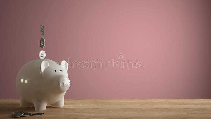 Wooden table top or shelf with white piggy bank with coins, saving money for future investments, concept idea with pink colored royalty free stock photo