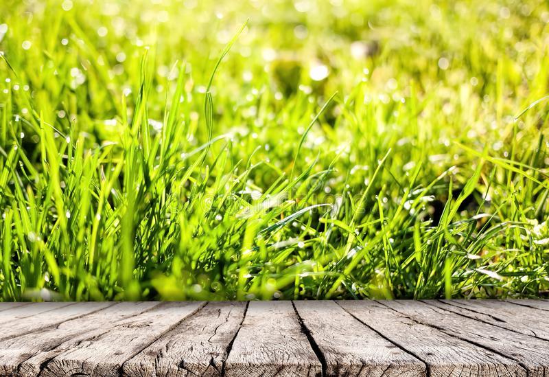 Wooden table top and spring grass nature background royalty free stock photo