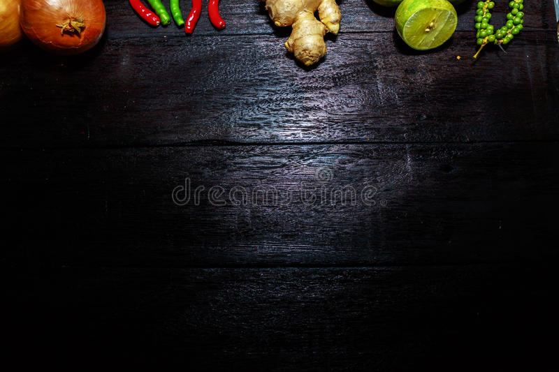 Wooden table with a vegetables. On border stock images