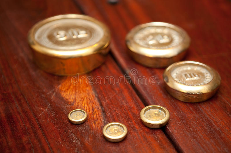 Download Wooden Table and weights stock image. Image of retro - 13271905