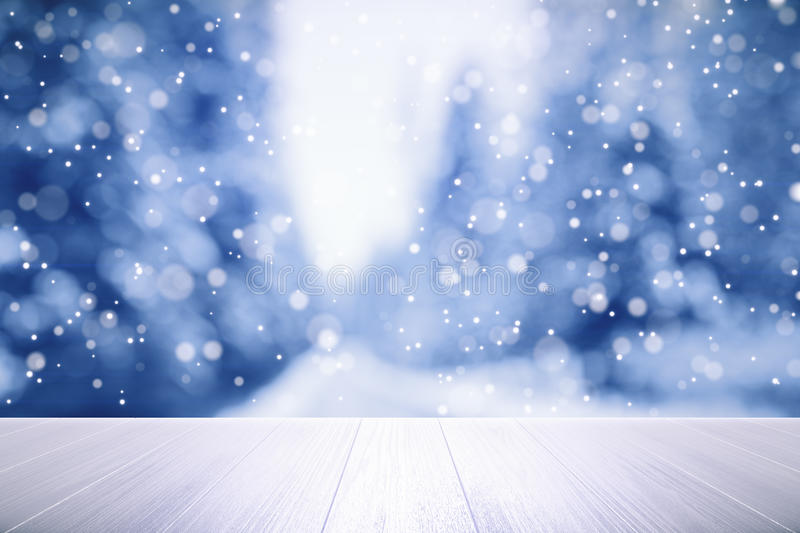 Wooden table with winter weather outside. Close up royalty free illustration
