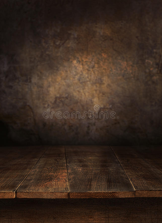 Free Wooden Table With Old Wall Royalty Free Stock Images - 27193629