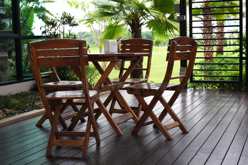 Wooden tables and chairs