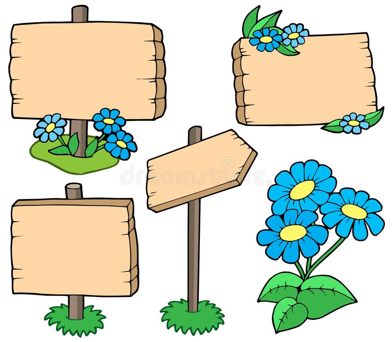 Download Wooden Tables With Flowers Collection Stock Vector - Image: 8379422