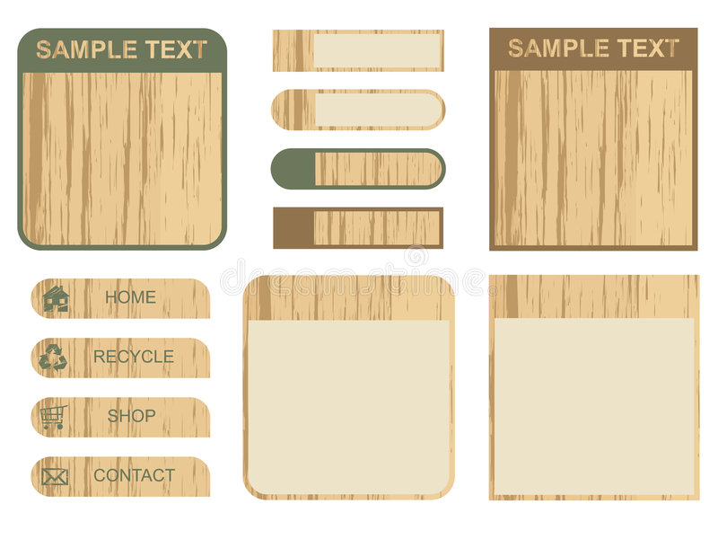 Wooden tabs and text boxes vector illustration