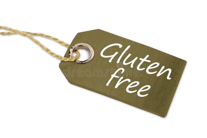 Wooden tag label with gluten free royalty free stock photography