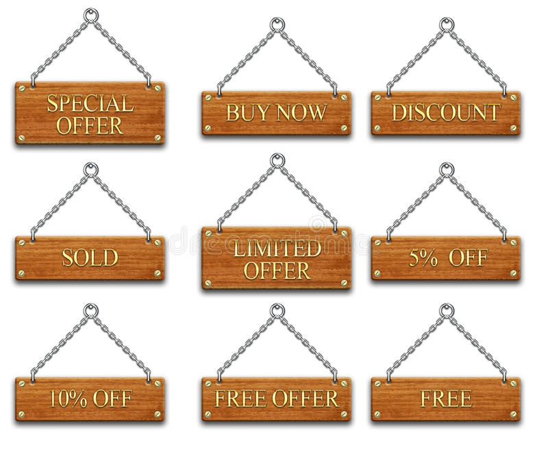 Download Wooden tag set2 stock illustration. Image of selling - 11994943