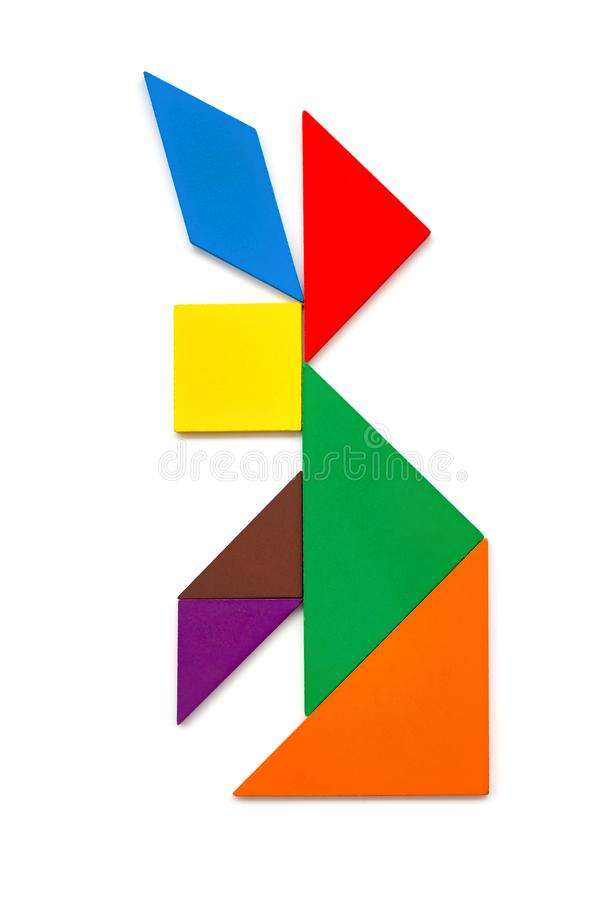 Wooden tangram shaped like a rabbit stock photography