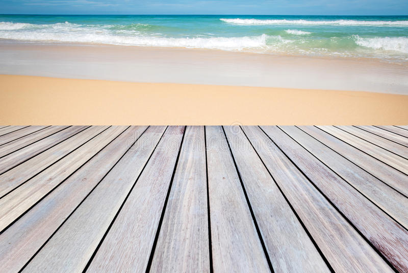Download Wooden Terrace With Sand Beach Background. Stock Photo   Image Of  Seascape, Space