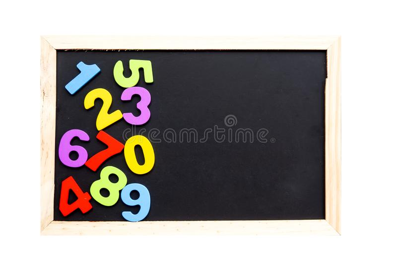 Wooden text of number on black boad. Educational concept stock photography