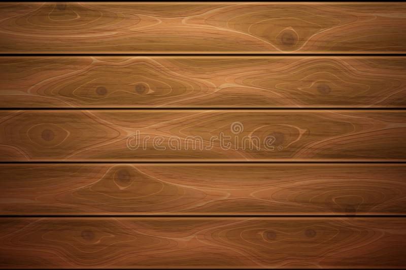 Vector realistic wooden timber background texture. Wooden texture background. Realistic vector timber wood floor surface. Brown detailed hardwood planks royalty free illustration