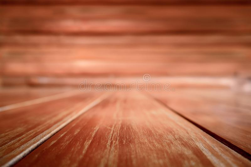 Wooden Texture and Blank Background Made of Natural. Old Vintage Planked Hardwood Panel Interior Room. Empty Brown Dark Wood Table stock images
