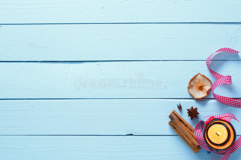 Wooden Texture with candle light stock photo
