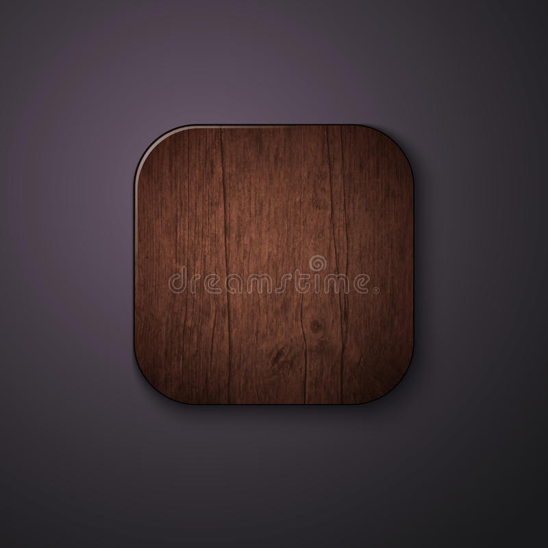 Wooden texture icon stylized like mobile app. Vector illustration. stock illustration