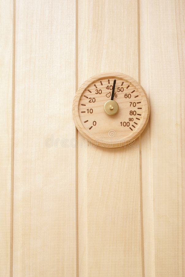 Download Wooden Thermometer In Sauna Stock Photo - Image: 4326952