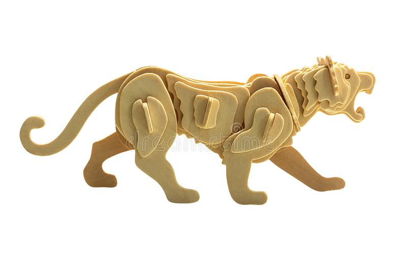 Wooden tiger isolated stock image