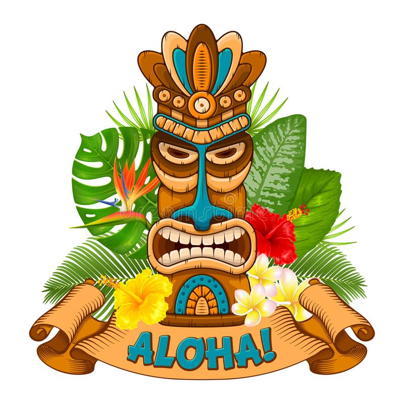 Free Wooden Tiki Mask And Signboard Of Bar Stock Photography - 113582872