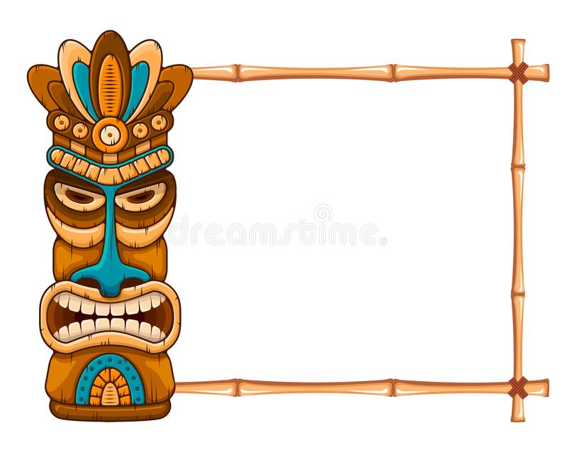 Wooden Tiki mask and bamboo frame stock illustration