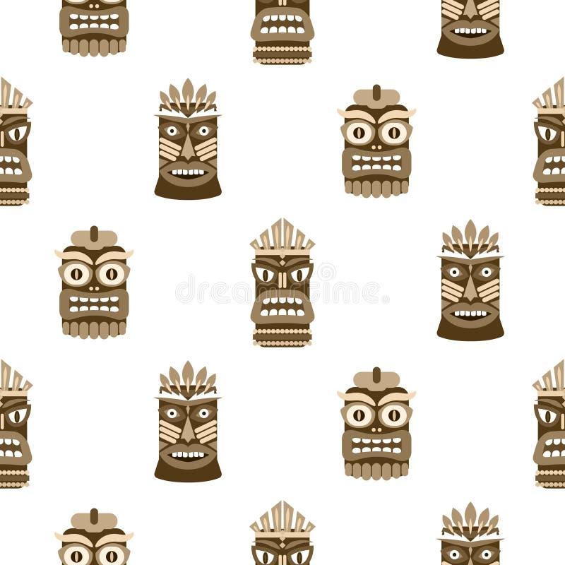 Wooden tiki mask seamless pattern vector. stock illustration