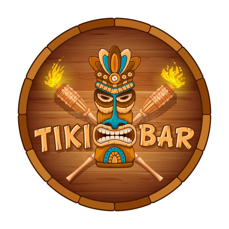 Wooden Tiki mask and signboard of bar royalty free illustration
