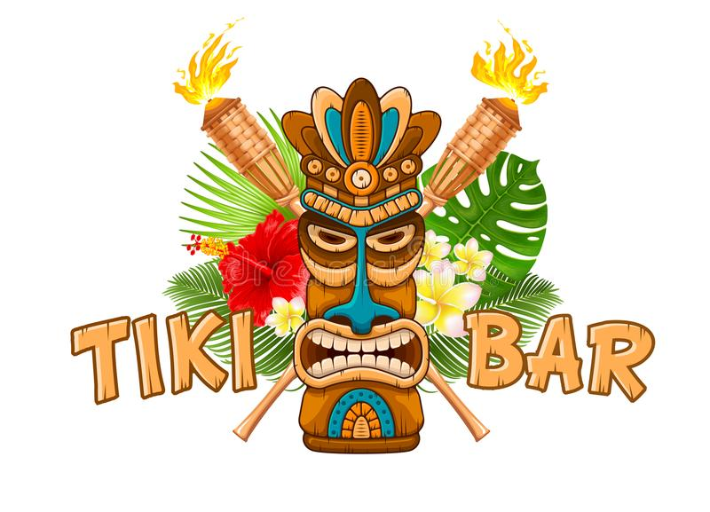 Wooden Tiki mask and signboard of bar vector illustration