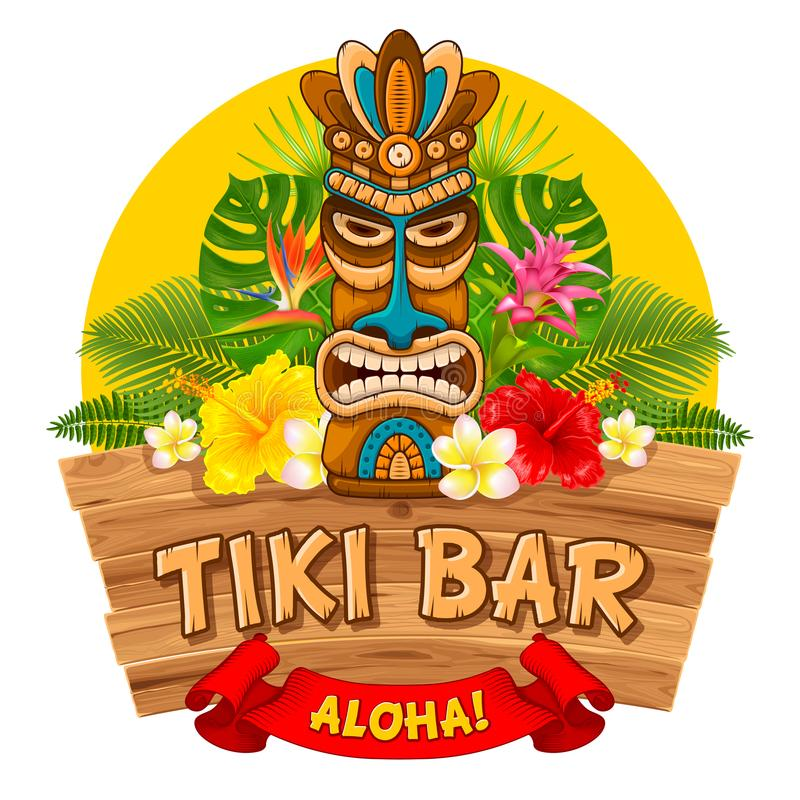 Wooden Tiki mask and signboard of bar. Tiki tribal wooden mask, tropical exotic plants and signboard of bar. Hawaiian traditional elements. Isolated on white royalty free illustration