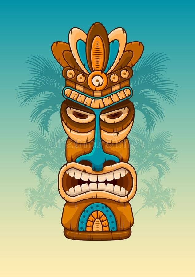 Wooden Tiki mask. Tiki tribal wooden mask. Hawaiian traditional elements. Silhouettes of palm tree on background. Vector illustration royalty free illustration