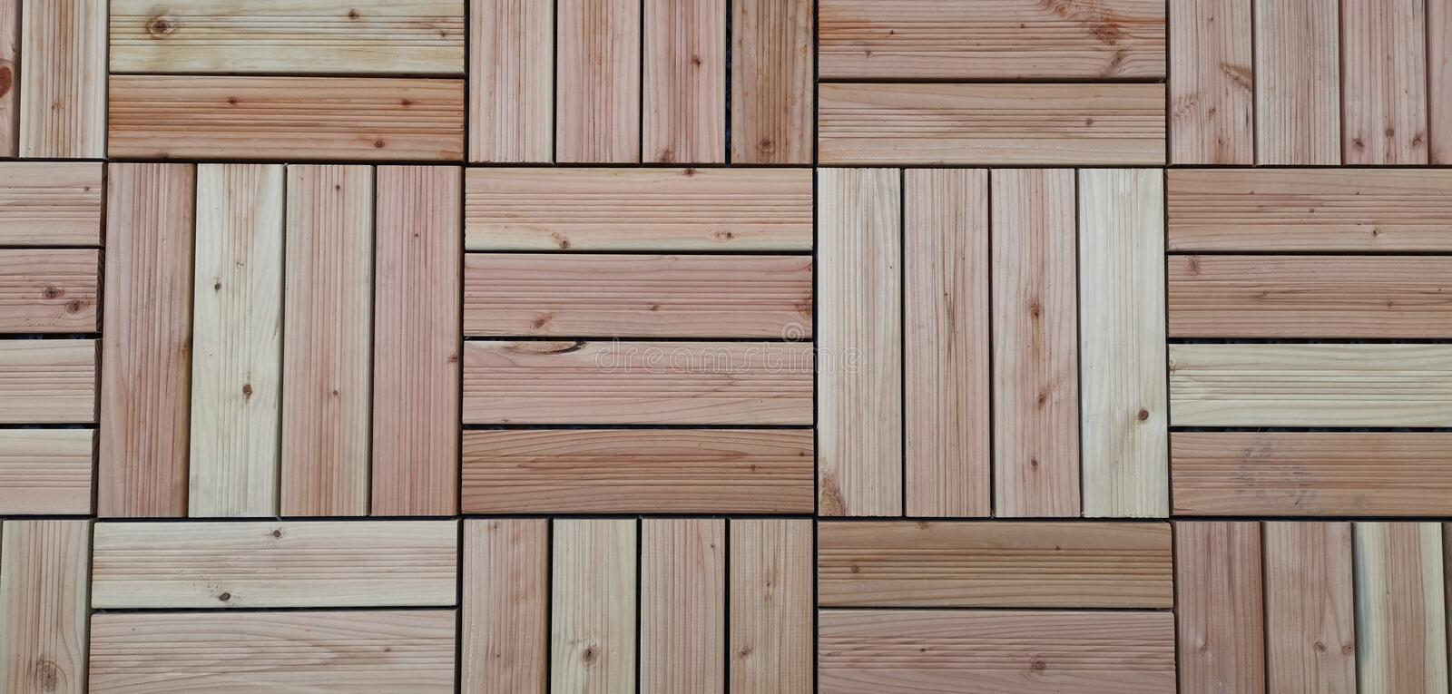 Wooden tiles on terrace. background pattern. royalty free stock photos