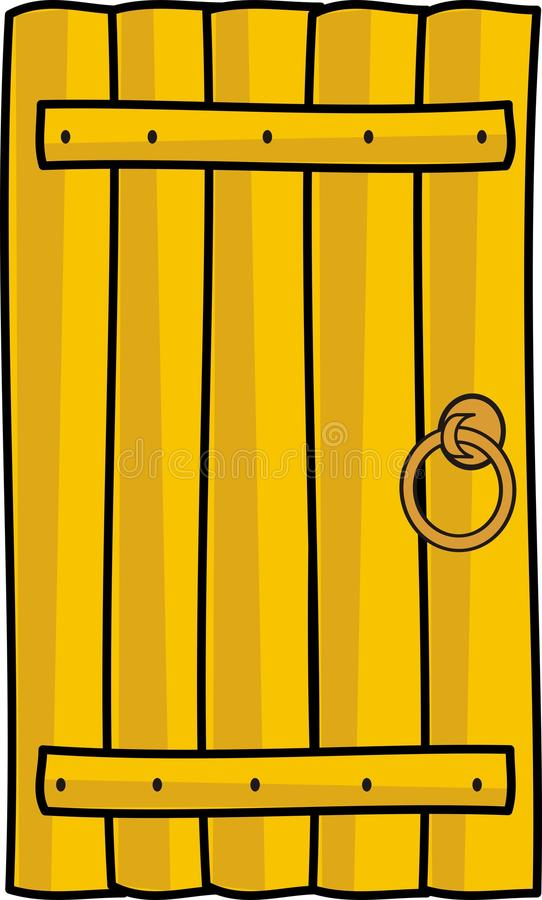 Wooden timber door with handle. Cartoon style, vector isolated illustration on white background vector illustration