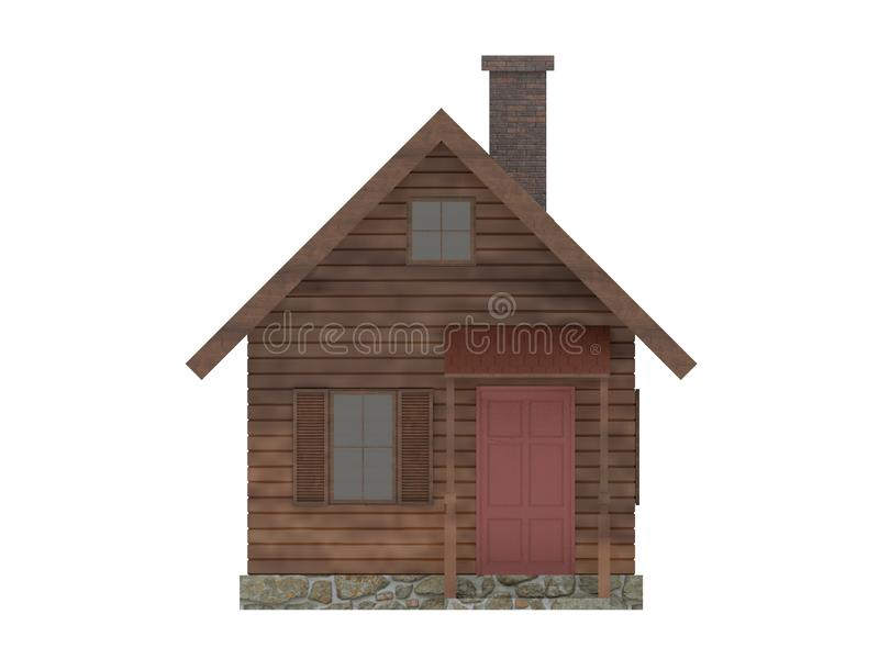 Wooden tiny house cabin icon stock illustration