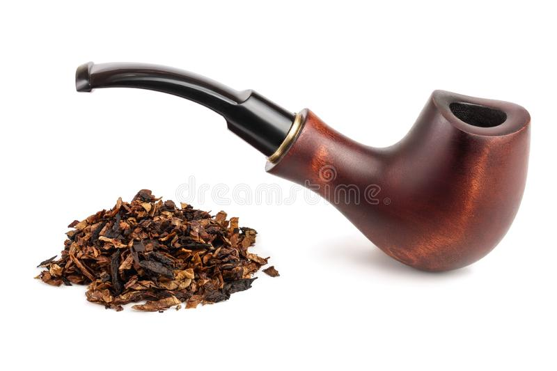 Wooden tobacco pipe with dried smoking tobacco isolated on white background.  royalty free stock photo