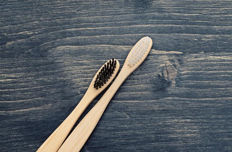 Wooden toothbrushes for the care of teeth stock image
