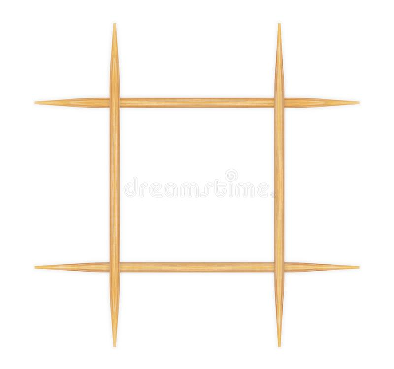 Wooden toothpicks on white background stock images