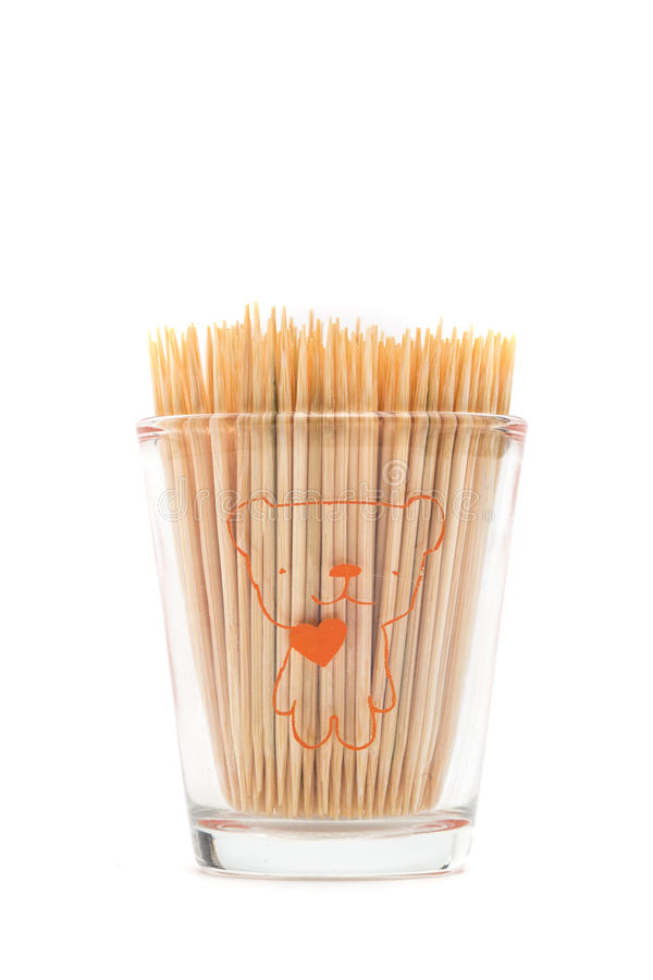 Wooden toothpicks on white background isolate stock photos