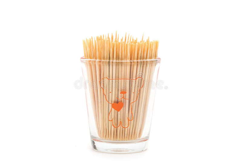 Wooden toothpicks on white background isolate stock photography