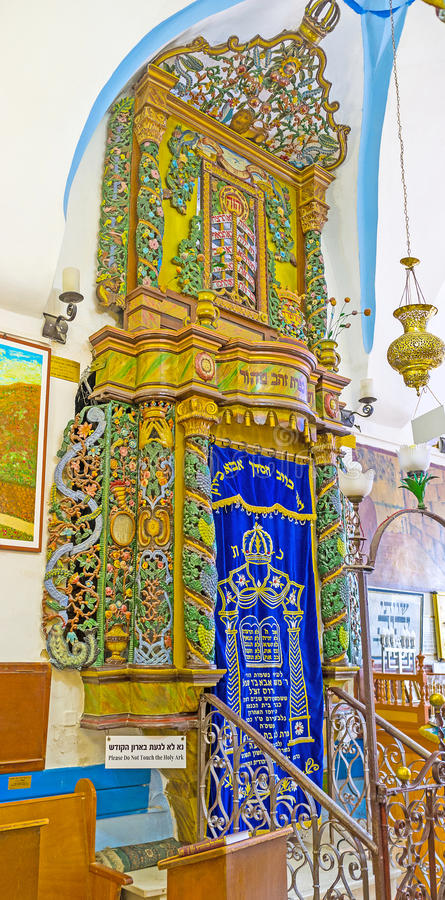 The wooden Torah Arc in Ari Synagogue in Safed royalty free stock image