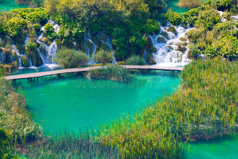 Wooden tourist path in Plitvice lakes national park, Croatia, Eu royalty free stock photos