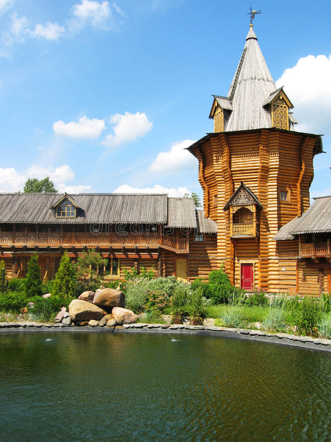 Wooden tower in Izmaylovskiy vernisage, Moscow royalty free stock image
