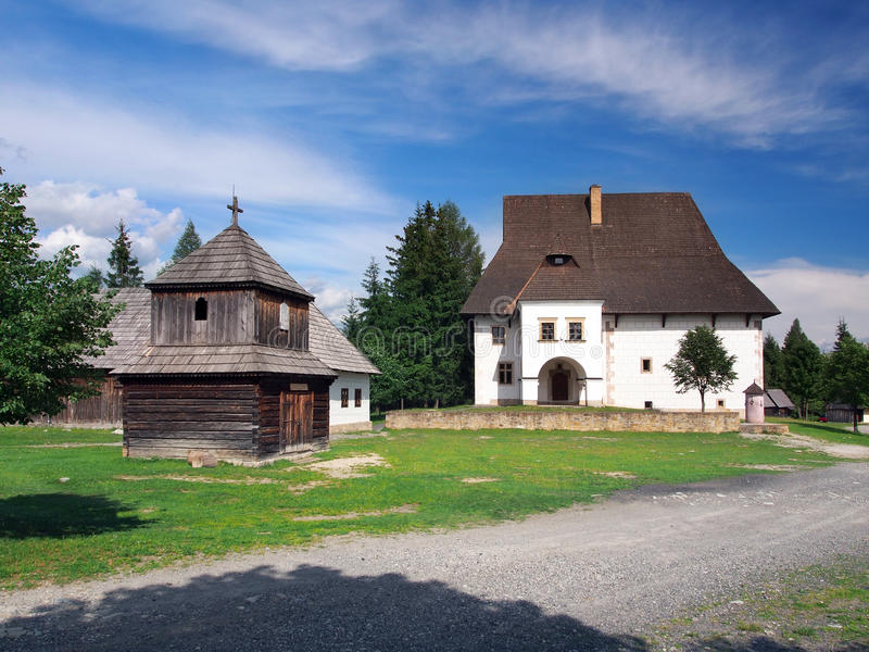 Wooden tower and manor in Pribylina, Slovakia royalty free stock image
