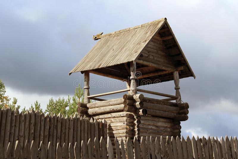 The wooden tower stock photos