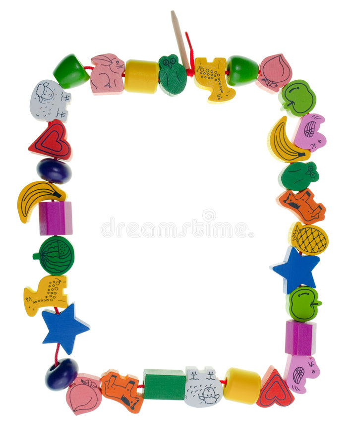 Wooden toy bead frame. Colorful wooden toy bead frame on white background royalty free stock image